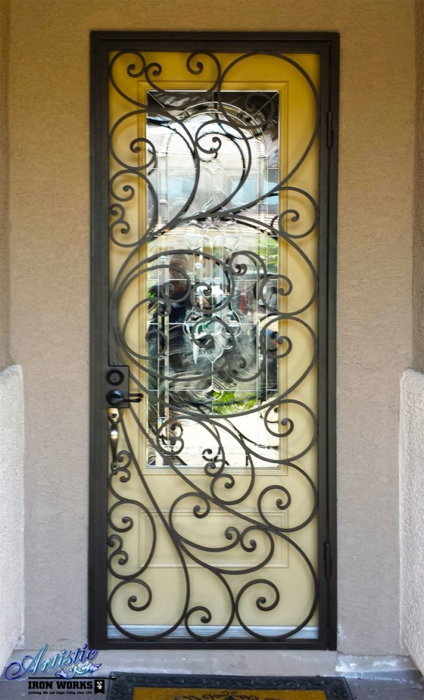 Example of Wrought Iron Security Door, by Artistic Iron Works, Las Vegas, NV
