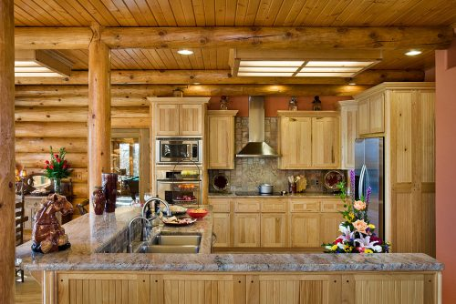 Interior, horizontal, kitchen, Hamilton residence, Spiro, Oklahoma; Expedition Log Homes