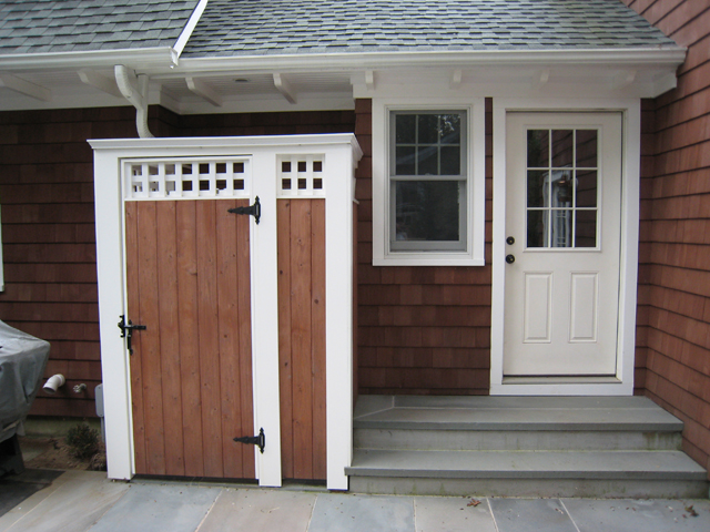 """Ike Sinesi of Cutchogue says, """"The shower is on the rear of the house on a slate patio. We wanted it to blend in with the house as much as possible. It allows us to shower outside after a long day at the beach, clean our sandy feet off and even shower the dog without having to make a mess in the house."""" Courtesy Photo"""