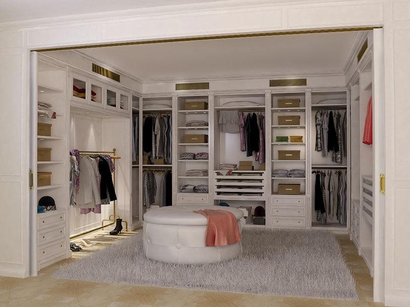 Beautiful Walk In Closet Design Cream Rug Round Sofa