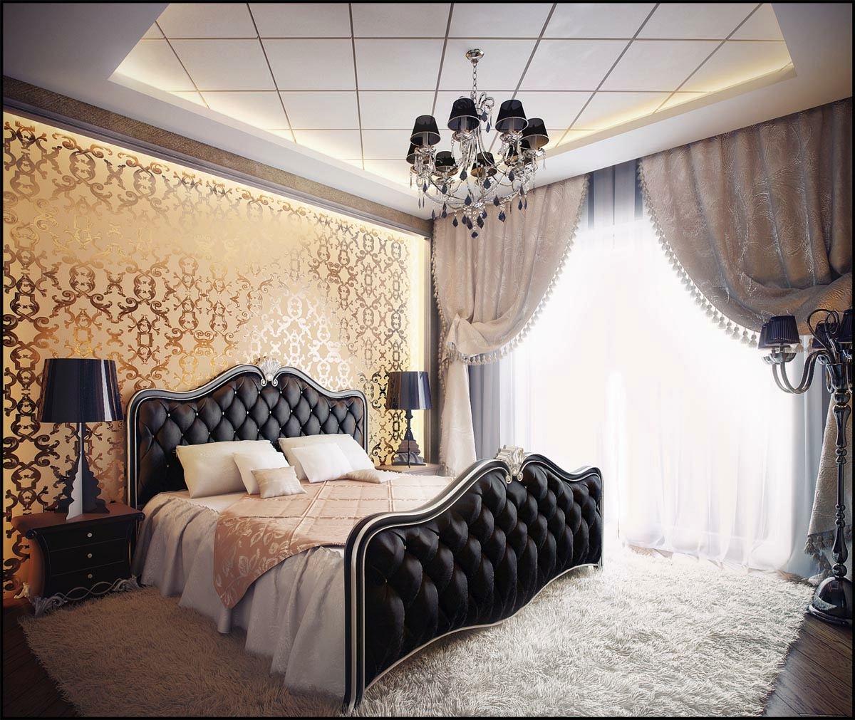 Black and gold bedroom design – Giving a Luxury Themed Bedroom