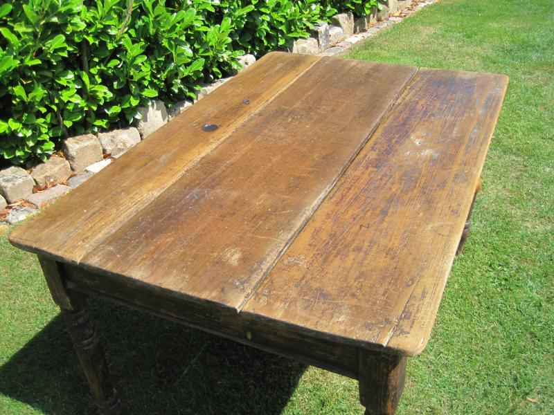 antique kitchen table with drawer photo - 5