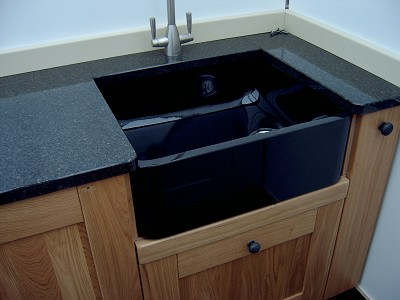 black granite belfast sink photo - 1
