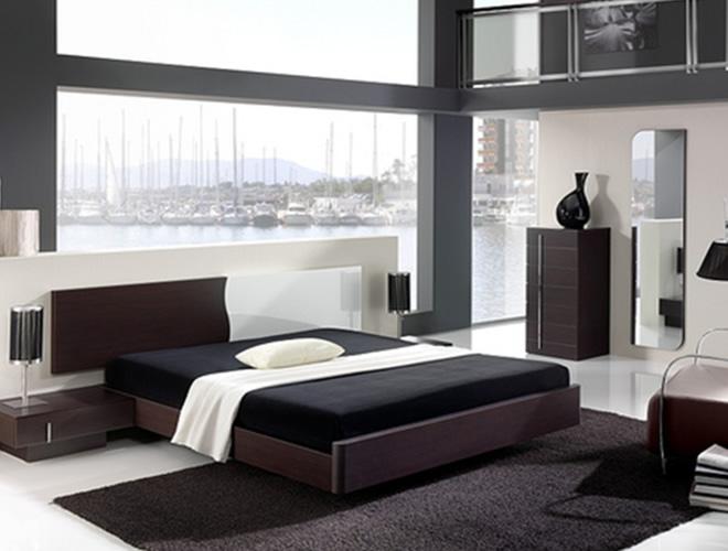 black mirrored glass bedroom furnitu photo - 4