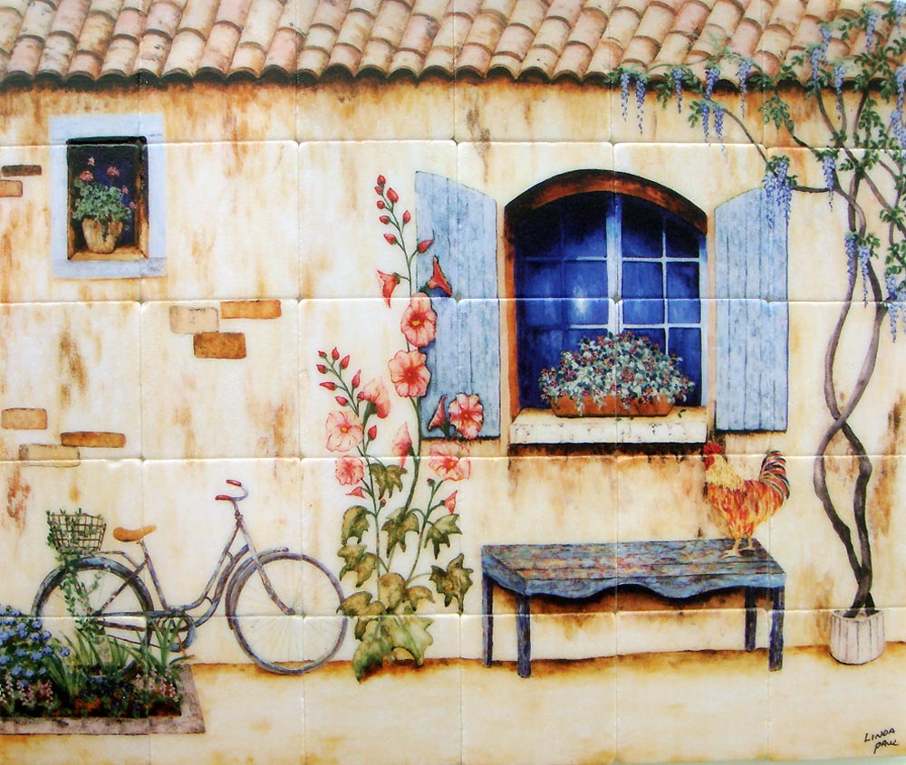 french country kitchen wall tiles photo - 4