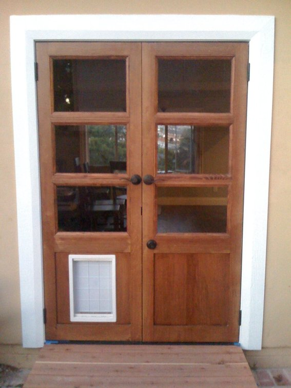 french doors with dog door photo - 5