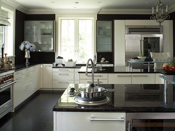 kitchen white cabinets dark countertops photo - 2