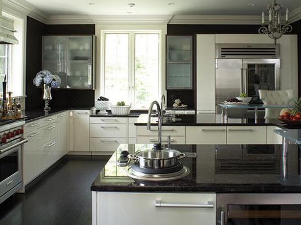 kitchen white cabinets dark countertops photo - 2