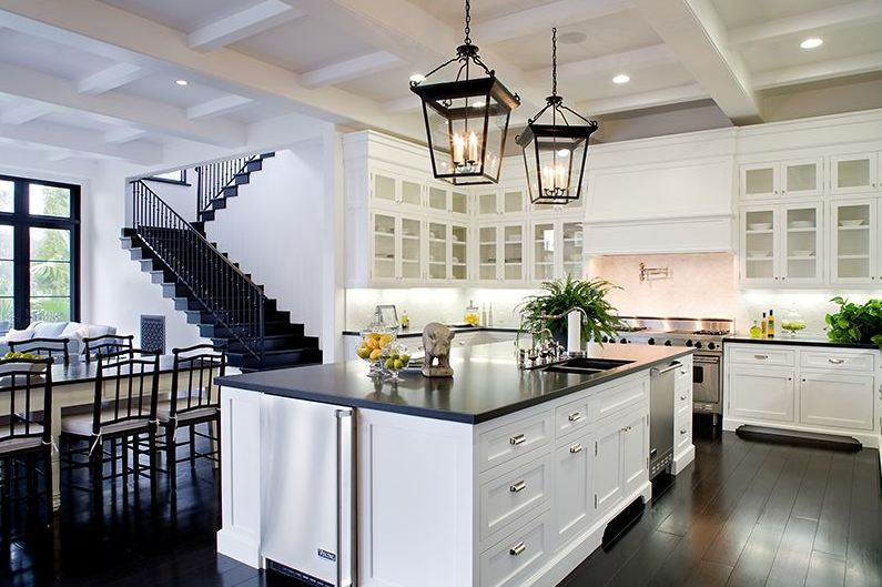 kitchen white cabinets dark countertops photo - 3
