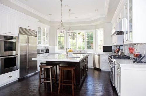 kitchen white cabinets dark wood floors photo - 1