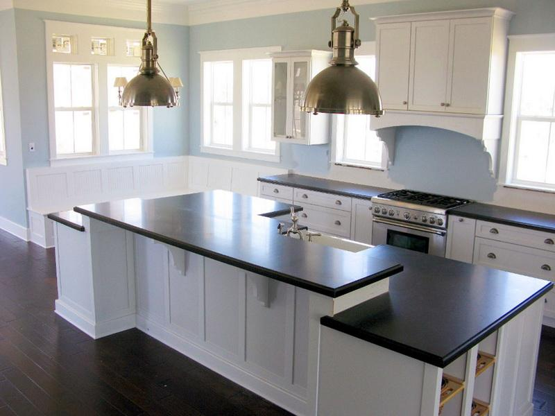 kitchen white cabinets dark wood floors photo - 2