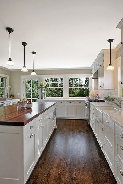kitchen white cabinets dark wood floors photo - 4