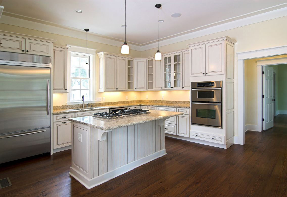 kitchen white cabinets dark wood floors photo - 5