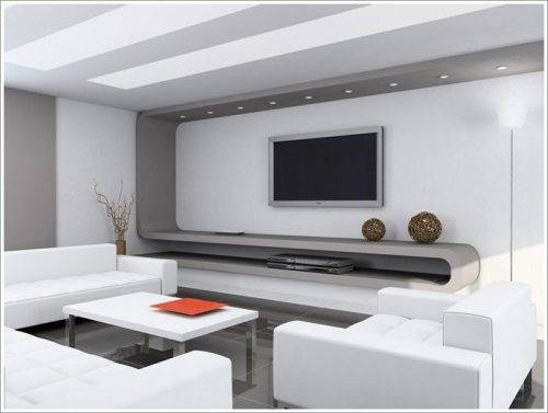 living room lcd tv wall unit design ideas photo - 1