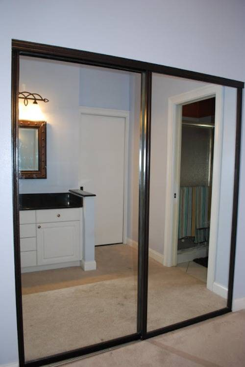 mirrored closet doors makeover photo - 2