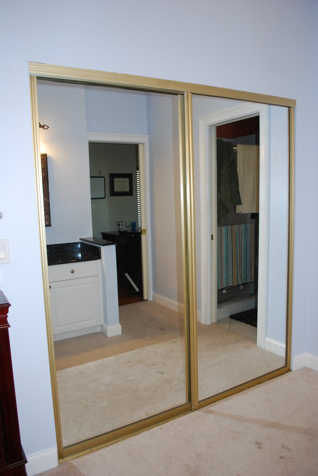 mirrored closet doors makeover photo - 3