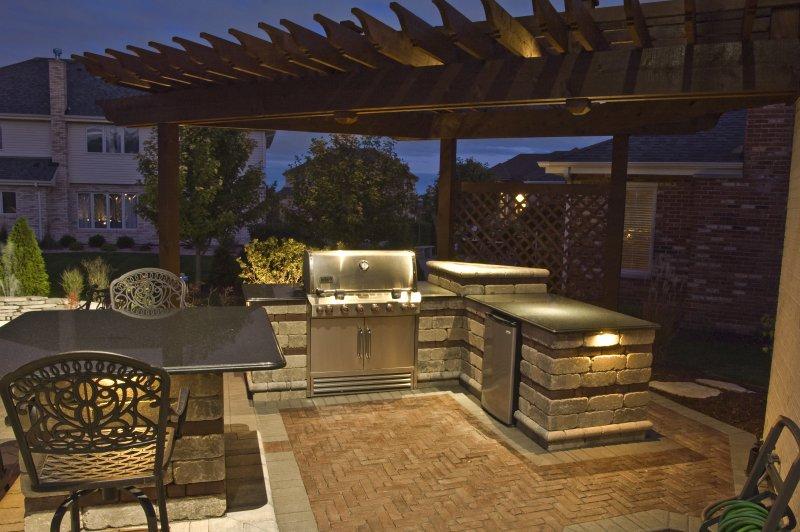 outdoor kitchen lighting photo - 3