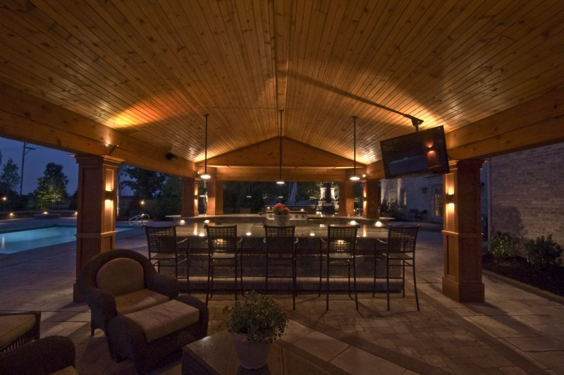 outdoor kitchen lighting photo - 6