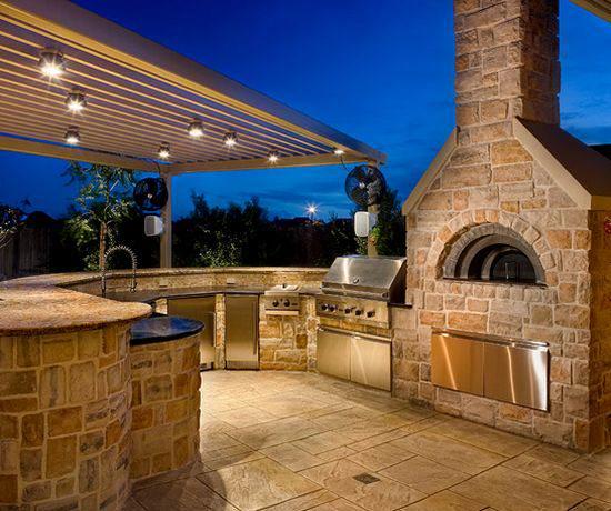 outdoor kitchen lighting design photo - 3