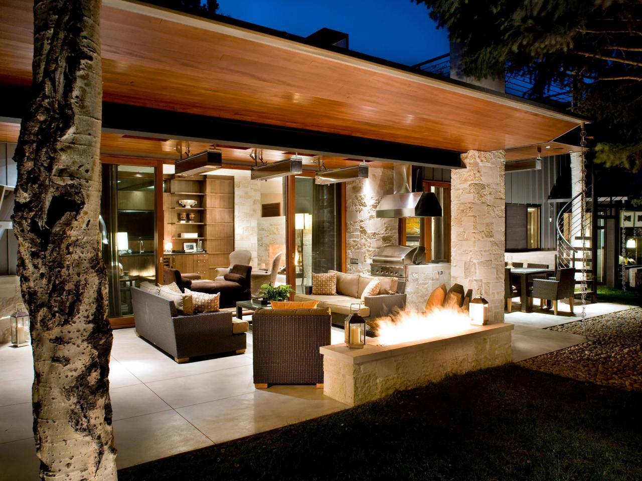 outdoor kitchen lighting design photo - 6