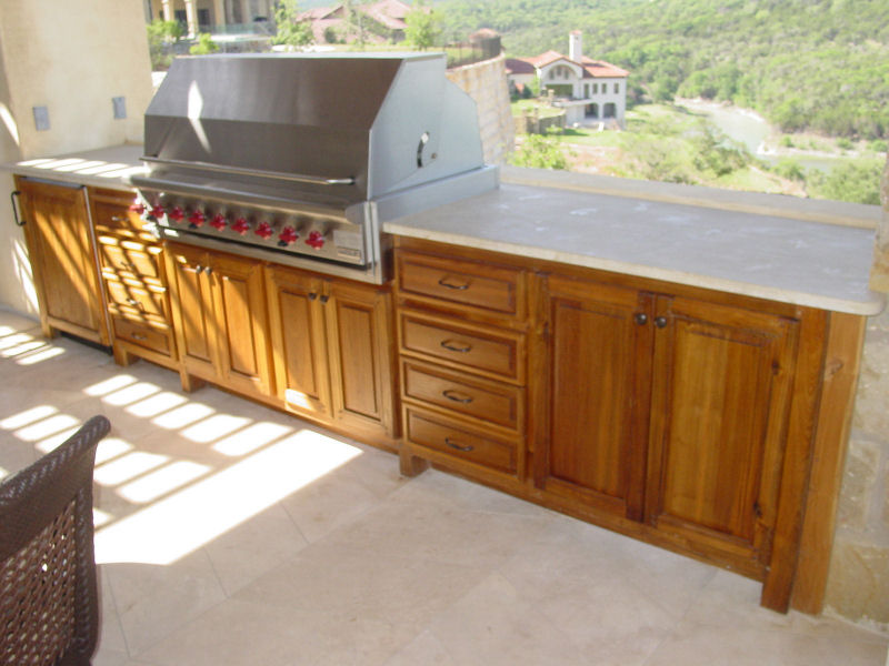 outdoor kitchen wood cabinets photo - 1