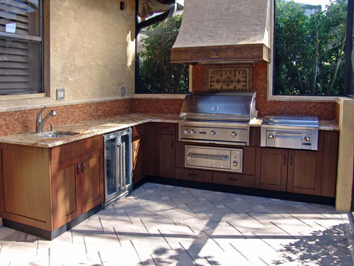 outdoor kitchen wood cabinets photo - 2