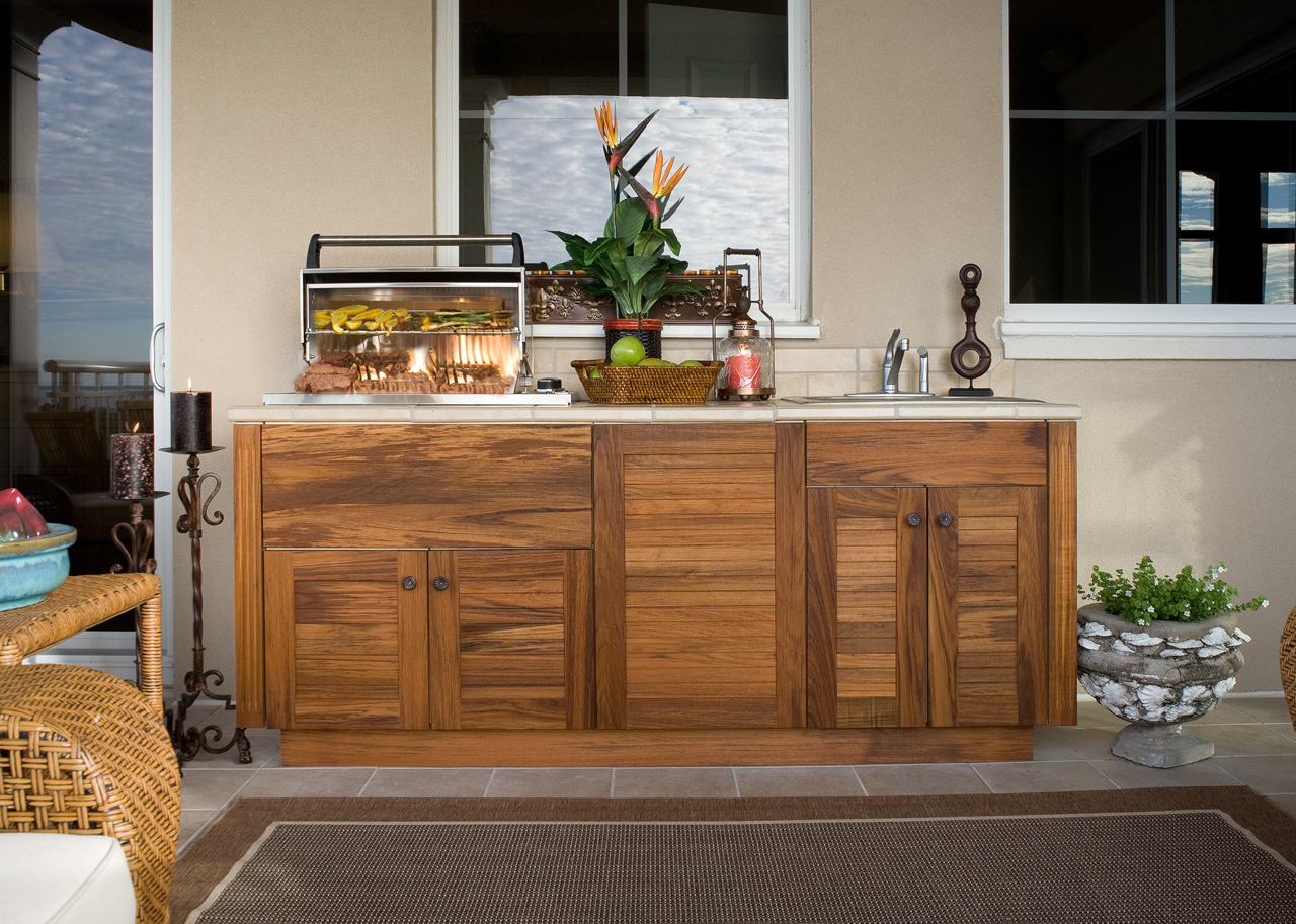 outdoor kitchen wood cabinets photo - 4