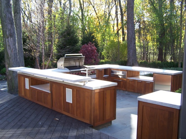 outdoor kitchen wood cabinets photo - 5