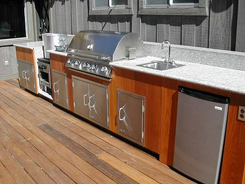 outdoor kitchen wood cabinets photo - 6
