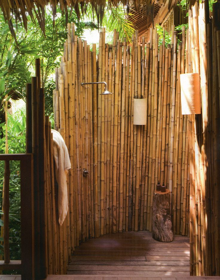 outdoor shower bamboo photo - 2