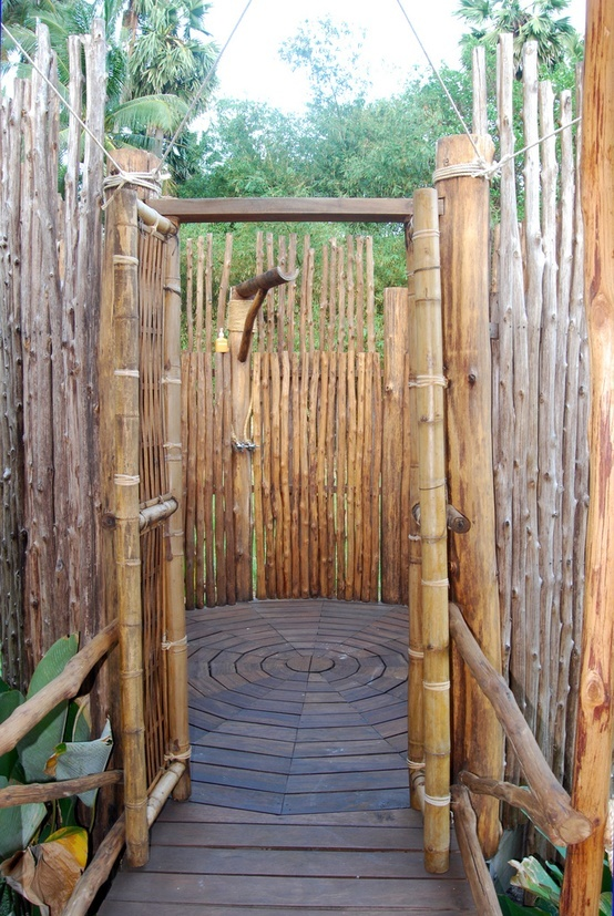 outdoor shower bamboo photo - 3