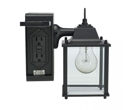 outdoor wall light with built in outlet photo - 5