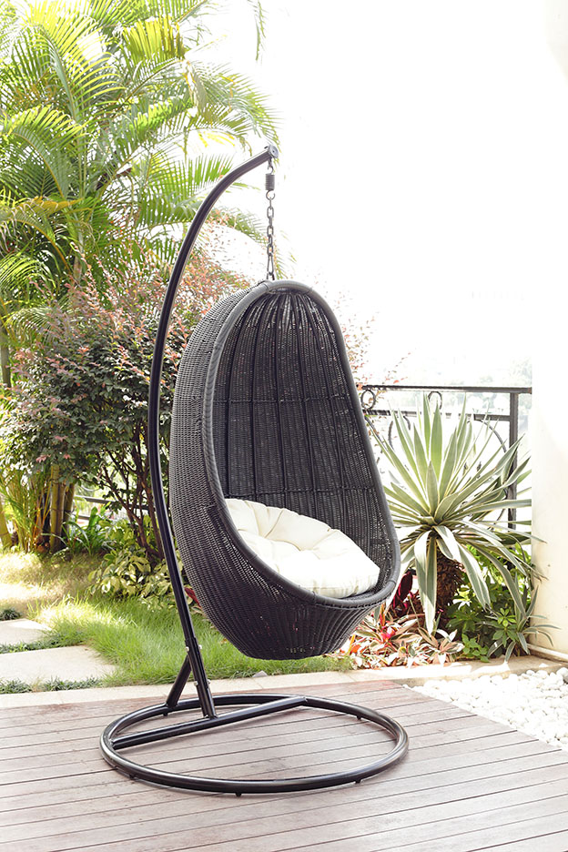outdoor wicker egg chair photo - 5