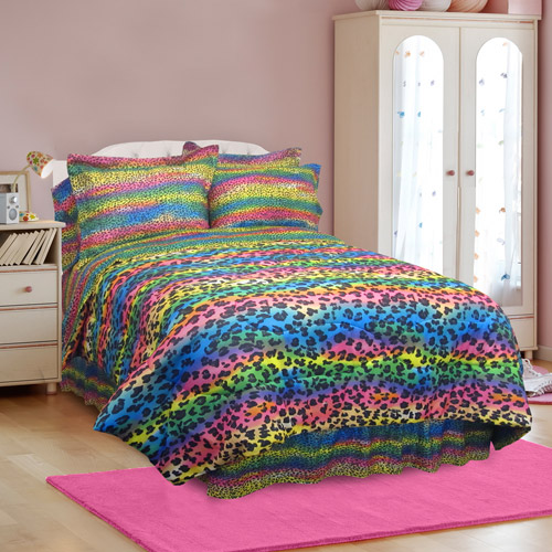 rainbow cheetah bedding photo - 5