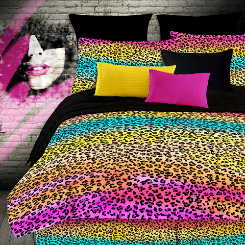 rainbow cheetah bedding photo - 6