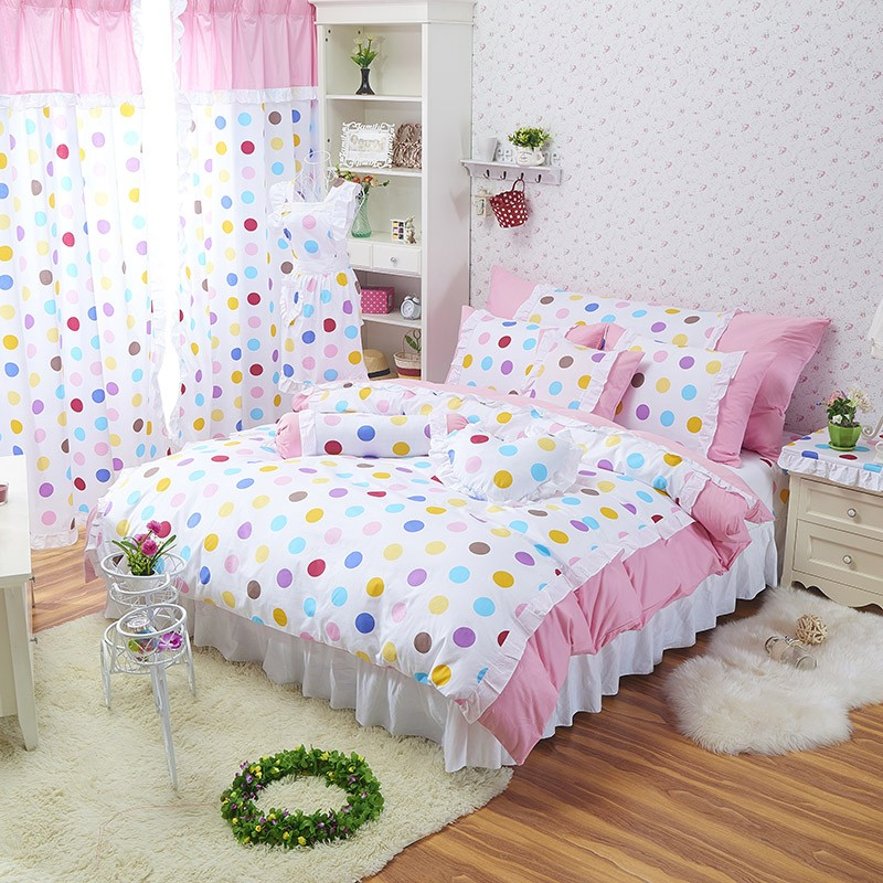 rainbow polka dot bedding photo - 6