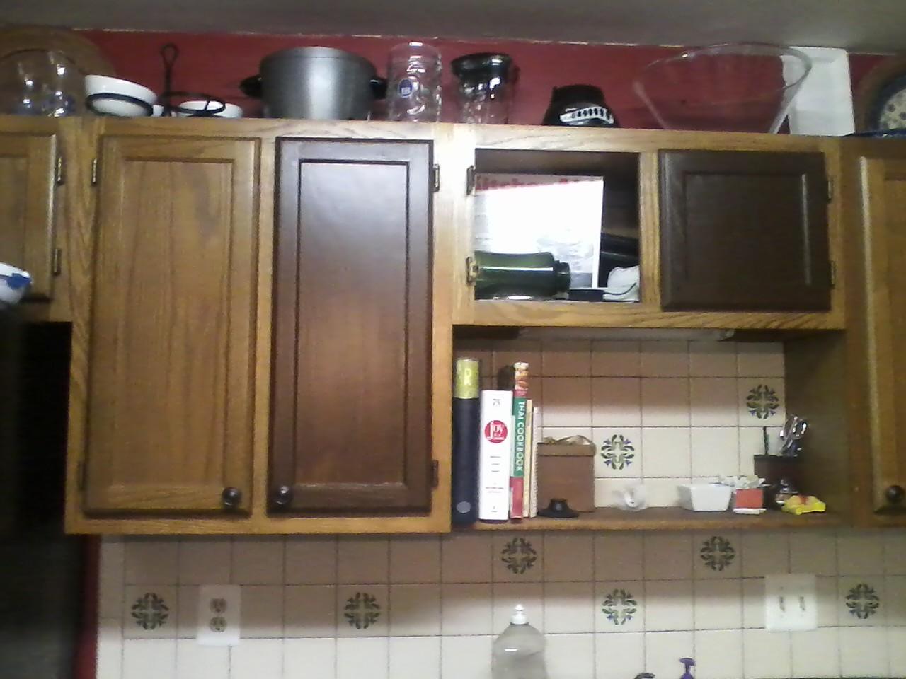 restaining kitchen cabinets gel stain photo - 1