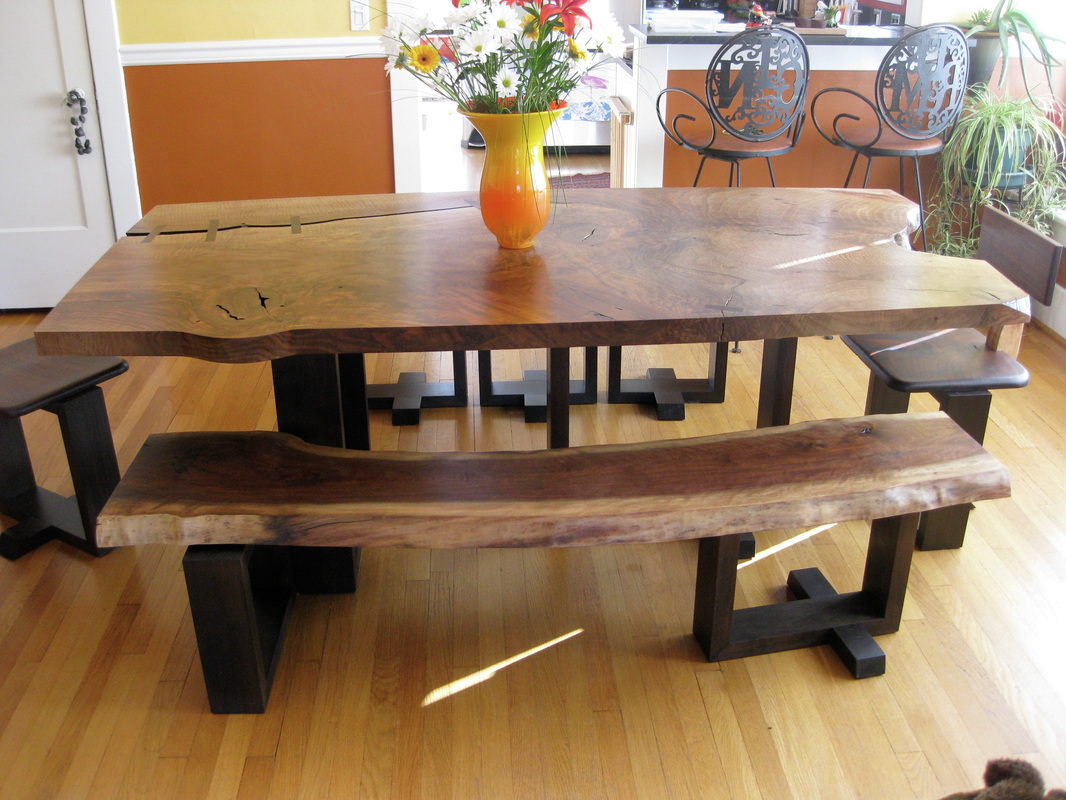 rustic dining set with bench photo - 6