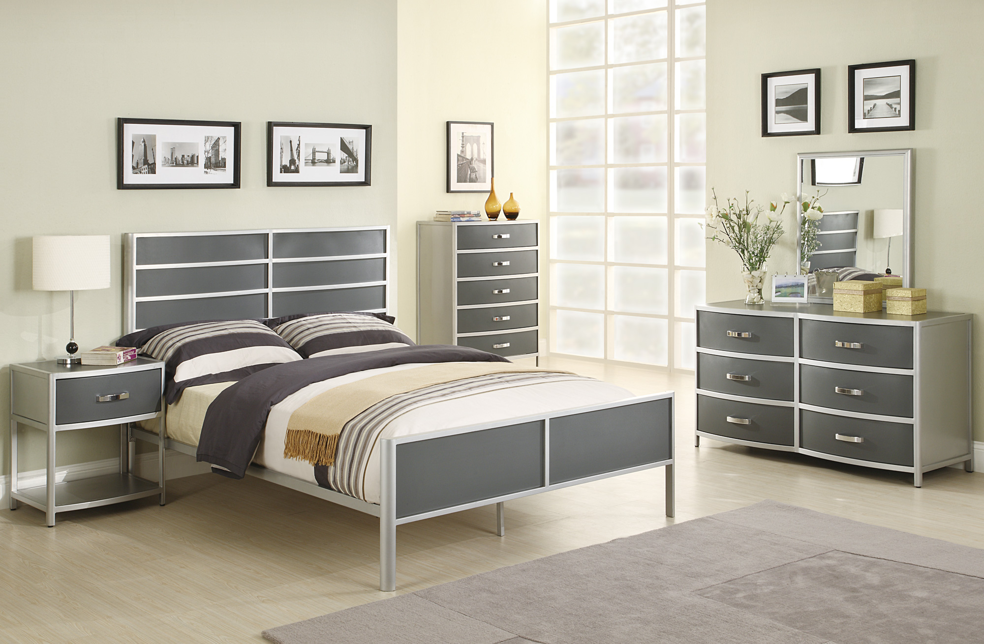 silver bedroom furniture sets photo - 3