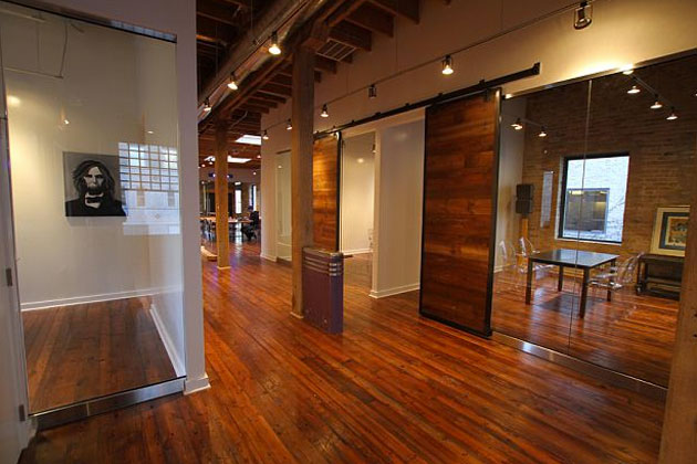 sliding loft doors interior photo - 2