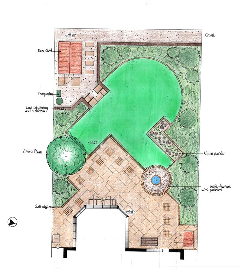 sloping garden design plans photo - 3