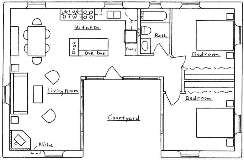 u shaped kitchen house plans photo - 1