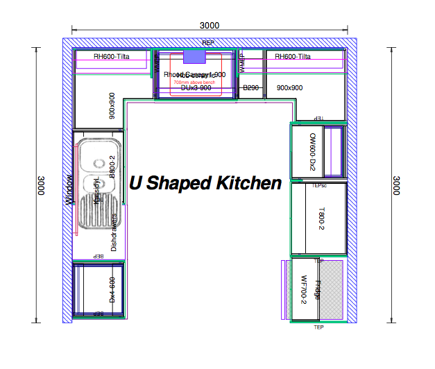 u shaped kitchen house plans photo - 2