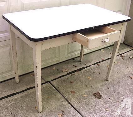 vintage kitchen table with enamel top photo - 2