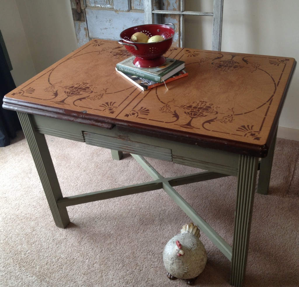 vintage kitchen table with enamel top photo - 3