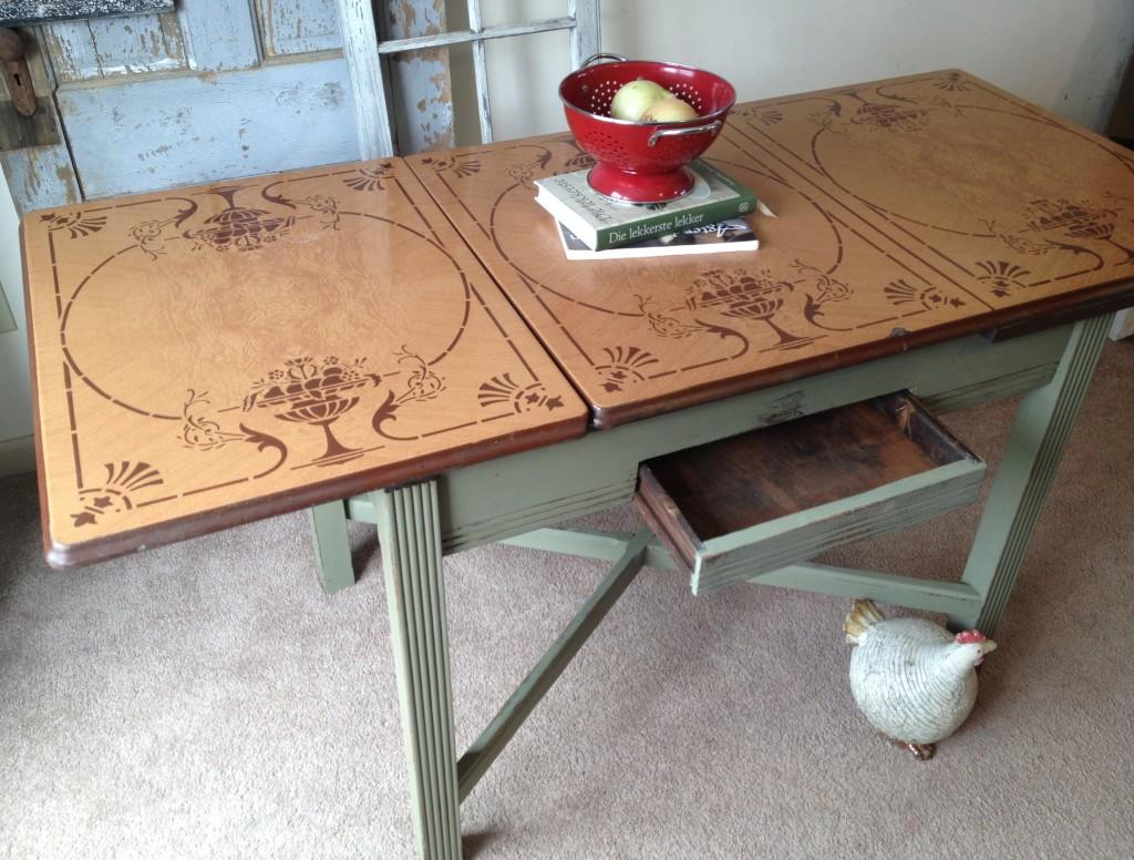 vintage kitchen table with enamel top photo - 6