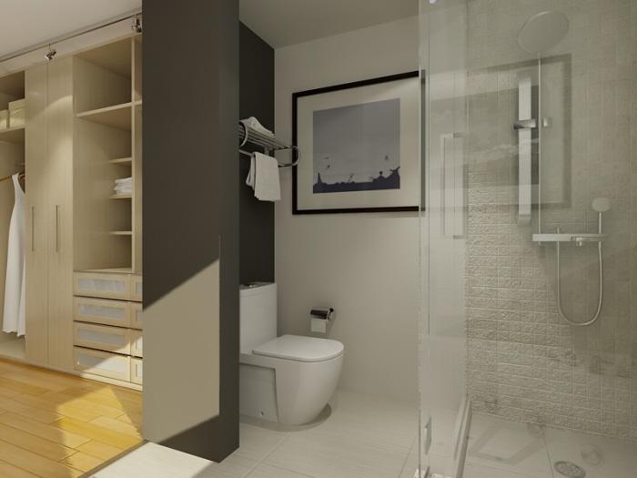 walk in closet and bathroom ideas photo - 1